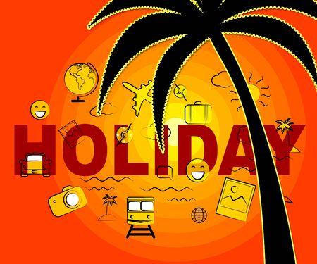 Holiday Icons Representing Sign Getaway And Vacations