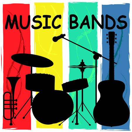 Music Bands Representing Sound Track And Groups