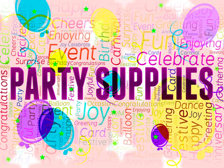 Party Supplies Representing Partying Shopping And Products