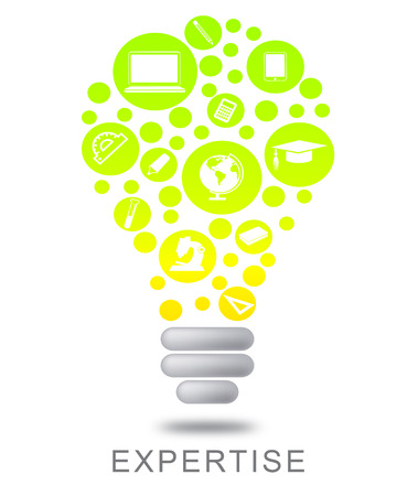 Expertise Lightbulb Indicating Proficient Skills And Experience