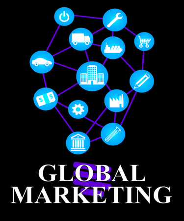 Global Marketing Representing World Ecommerce Or Worldwide Promotion