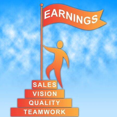 Earnings Flag Representing Earns Revenue And Profit