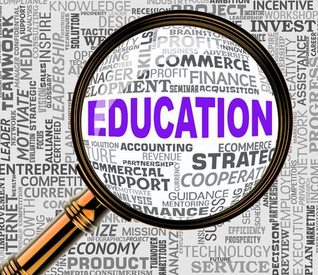 Education Magnifier Representing Training Schooling 3d Rendering