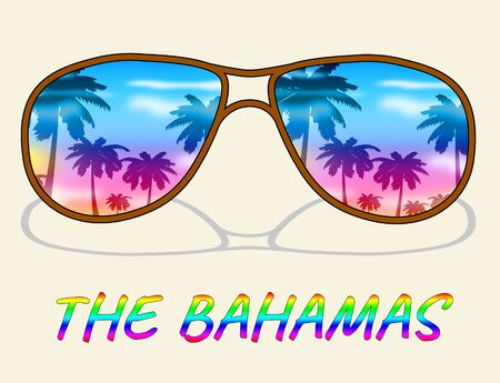 The Bahamas Words Under Sunglasses Shows Vacation Break Or Holiday