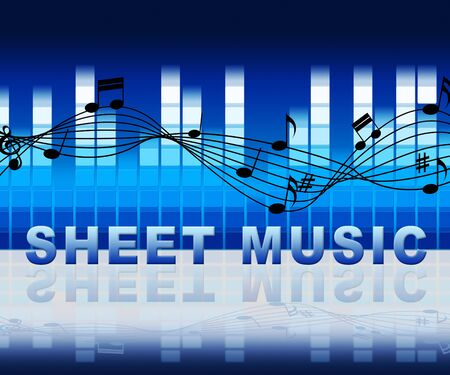 Sheet Music Notation With Notes And Equalizer Shows Music And Melodies