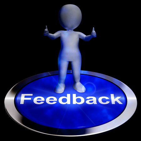 Feedback Button Showing Opinion Evaluation And Surveys 3d Rendering