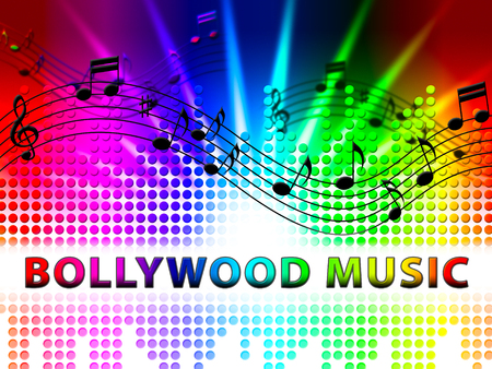 Bollywood Music Notes Design Represents Movie Industry Songs And Audio