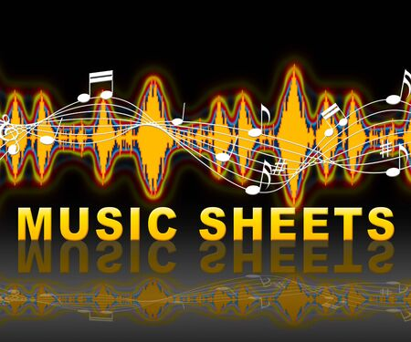 Music Sheets Notation With Notes And Equalizer Shows Music And Melodies