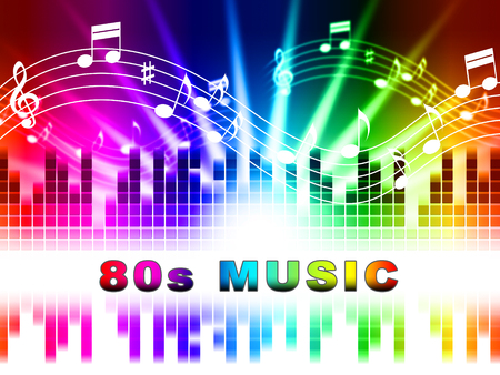 Eighties Music notes Design Showing Acoustic Songs And Soundtrack