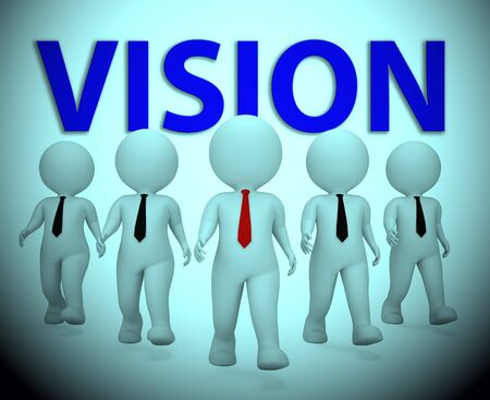 Vision Businessmen Characters Showing Company Visions 3d Rendering