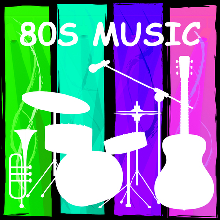 Eighties Music Drum Kit Showing Sound Track And Melody