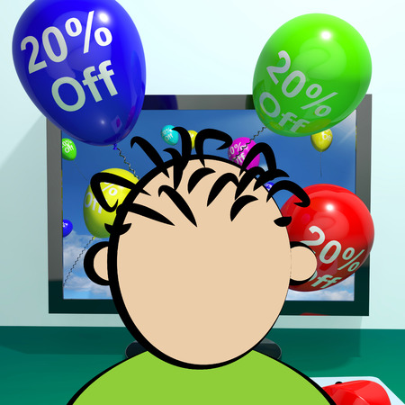Balloons From Computer Shows Sale Discount Of Twenty Percent Online 3d Rendering
