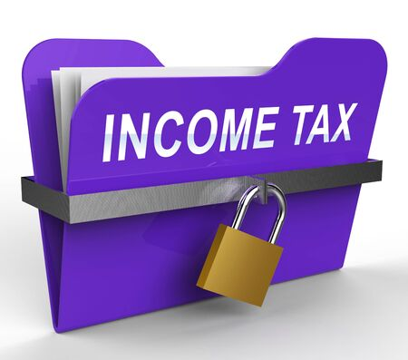 Income Tax File With Padlock Shows Paying Taxes 3d Rendering