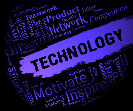 Technology Words Represents Electronics Digital And Hi Tech