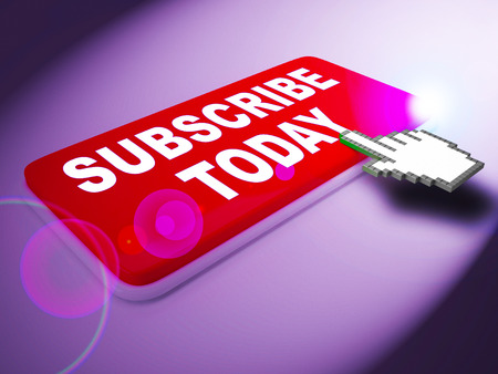 Subscribe Today Key Represents To Sign Up 3d Rendering
