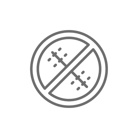 Vector forbidden sign with a medical seam, without surgical sutures line icon. Symbol and sign illustration design. Isolated on white background