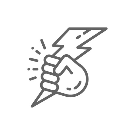 Illustration pour Vector hand with lightning, power line icon. Symbol and sign illustration design. Isolated on white background - image libre de droit