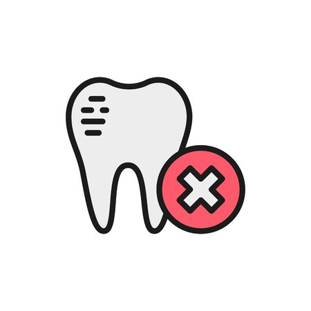 Vector damaged tooth enamel, dental broken flat color line icon. Symbol and sign illustration design. Isolated on white background