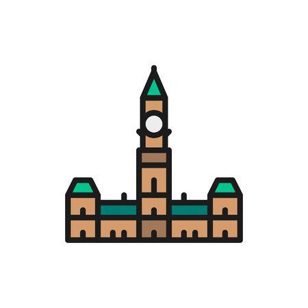 Parliament Hill, Ottawa flat color line icon.