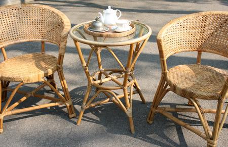 Table set outdoor to enjoy tea time