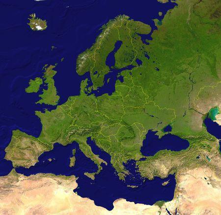 Foto de European map (a satellite view) with borderlines, capitals and big cities - Imagen libre de derechos