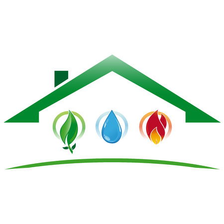 Green icon house with the water system, heating and environmentally sustainable development