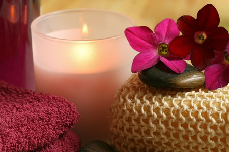 Spa and wellness therapy in claret color. Relax moments