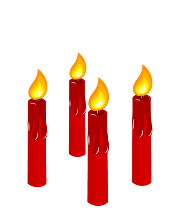 Four red burning candles vector illustration. Advent time before Christmas