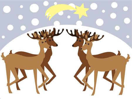 Christmas reideers in winter landscape