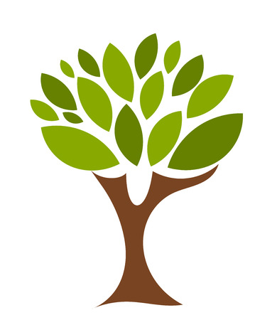Symbolic tree with single leaves illustration