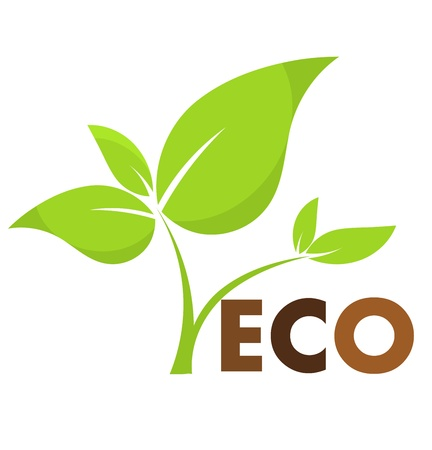 Environmental icon with eco plant. Vector illustration