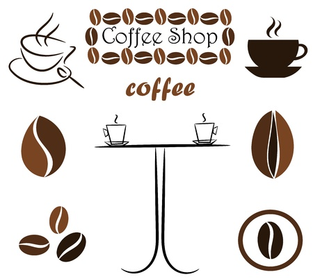 Coffee elements for design: beans, cups and table. Vector illustration