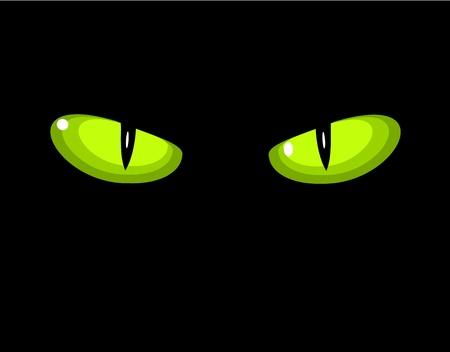Green dangerous wild cat eyes in darkness