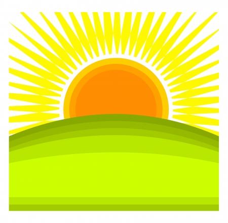 Illustration pour Sun rising behind green hill horizon. - image libre de droit