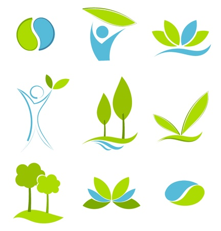 Green and blue symbols of eco life. Water and earth concepts
