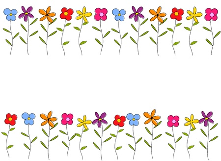 Colorful cartoon flowers border. Vector background