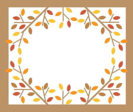 Colorful leaves on tree branches - autumn frame. Vector illustration