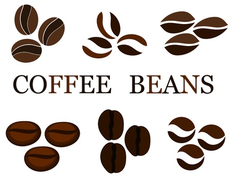 Coffee beans various kinds in collection. illustration