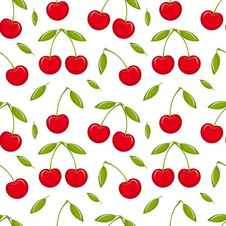 Illustration pour Cherries - seamless vector pattern - image libre de droit