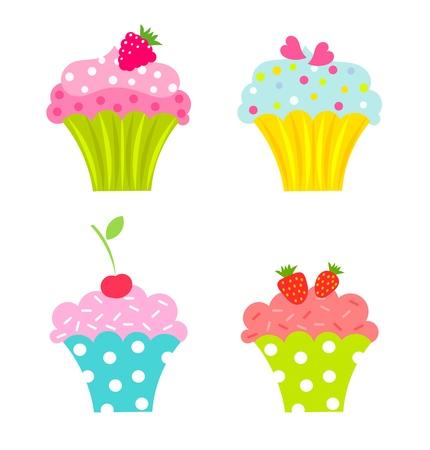Vektor für Set of cupcakes with cream and fruits - Lizenzfreies Bild