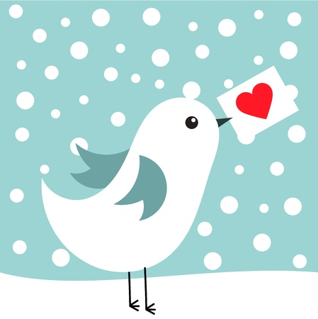 White bird with love letter in winter scenery