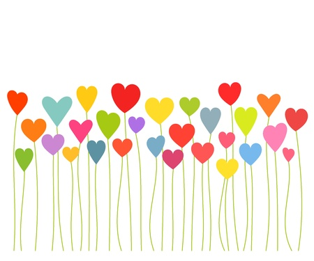 Colorful hearts growing - Valentines concept.