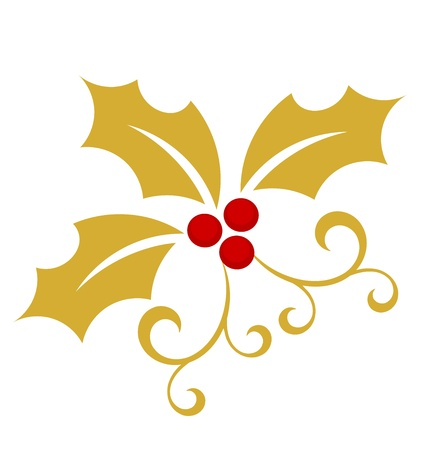 Gold holly berry - Christmas symbol illustration
