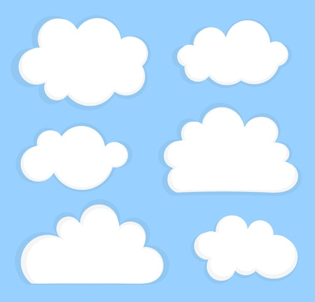 Blue sky with white clouds. Vector illustration