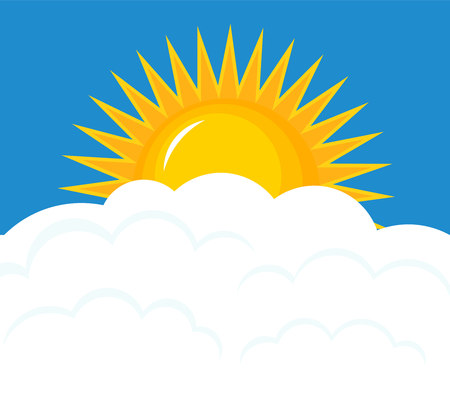 Sun rising over clouds. Sky vector illustration