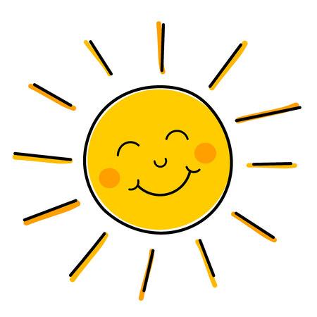 Illustration pour Drawing of happy smiling sun.  - image libre de droit