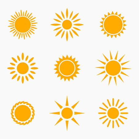 Ilustración de Sun icons or symbols collection. Vector illustration - Imagen libre de derechos