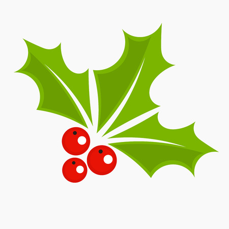 Holly berry icon, Christmas symbol.