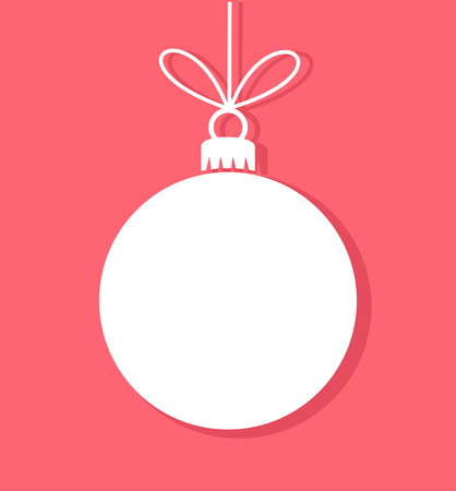 Photo for Christmas bauble white tag. Vector illustration - Royalty Free Image