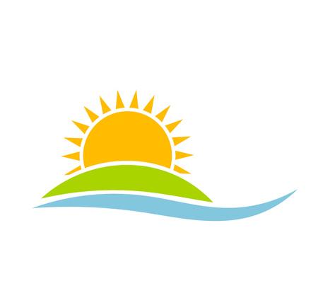 Illustration pour Sunset over green island. Vector illustration - image libre de droit